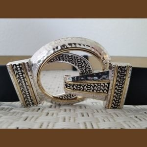 Accessories - Chico's Black Leather 2 Tone Buckle Belt Sz Small
